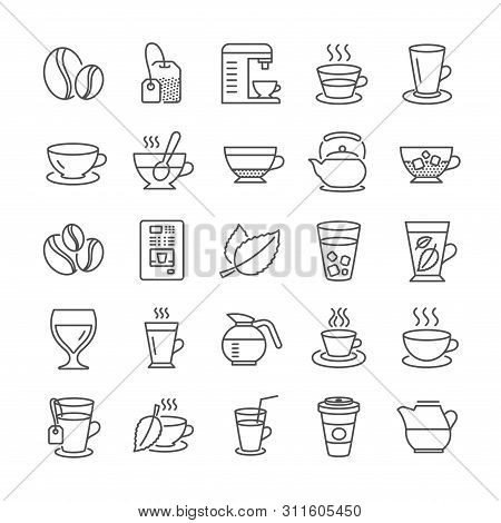 Coffee And Tea Line Icons. Set Of Juice With Ice, Cappuccino And Latte Coffee Cup Icons. Teapot, Cof