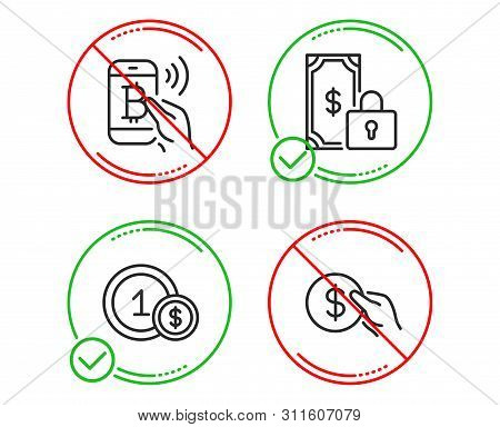 Do Or Stop. Usd Coins, Bitcoin Pay And Private Payment Icons Simple Set. Payment Sign. Secure Financ