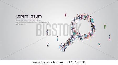 People Crowd Gathering In Magnifying Zoom Shape Social Media Community Analyzing Research Concept Di