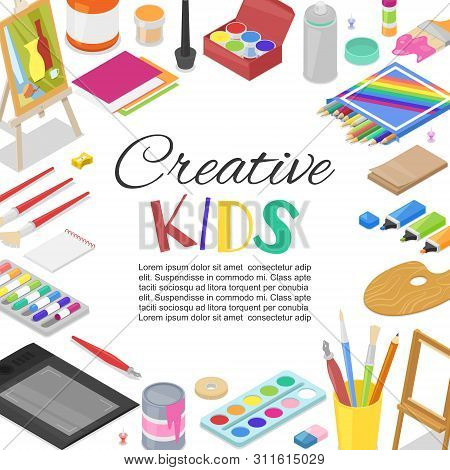 Kids Created Art, Education, Creativity Class Concept. Vector Banner, Poster Or Frame Background Wit