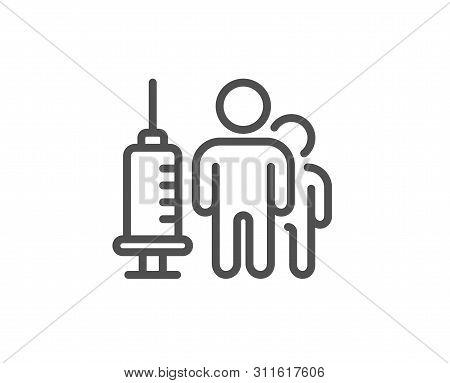 Medical Vaccination Line Icon. Medicine Vaccine Sign. Pharmacy Medication Symbol. Quality Design Ele