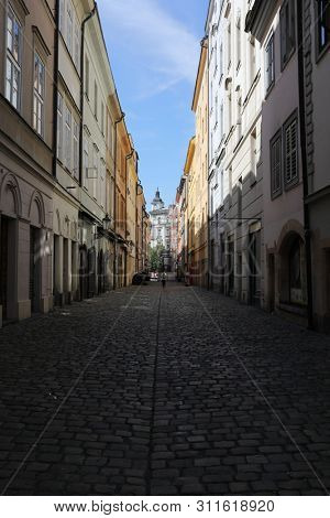 Street with houses in Prague