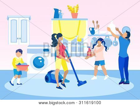 Children Help Parents Clean Home Illustration. Mother Vacuuming Carpet, Father Putting Utensils On S