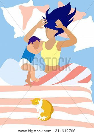 Cartoon Mother And Little Son Sleeping Together In One Bed. Baby Squeezing Up Against Mommy Lying On