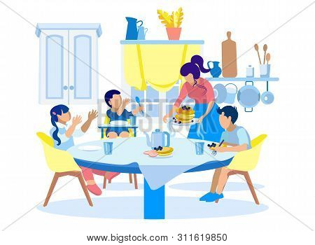 Family Breakfast In Kitchen At Home Illustration. Cartoon Mother Treats Children With Pancakes, Frui