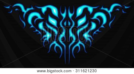 Neon Tribal Blue Flames, Sticker On The Hood. Car Bike Vehicle Graphics, Vinyls & Decals. Abstract F