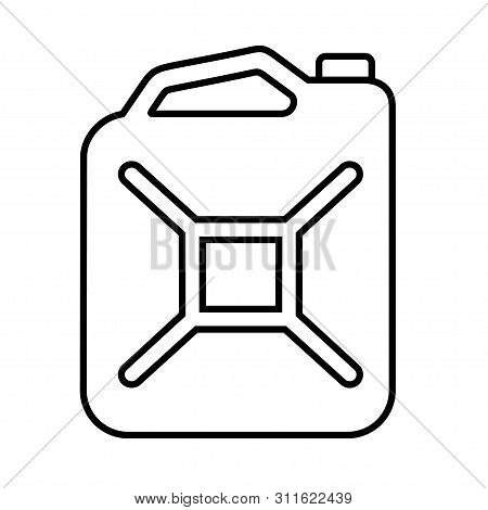 Fuel Jerrycan Icon  In Outline Style. Canister For Gasoline. Car Oil Vector Isolated Sign.