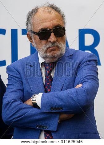 Bucharest, Romania - July 15, 2019: The Former Tennis Glory Ion Tiriac Listen To The Wimbledon Women