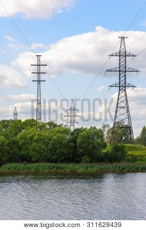 Support high voltage power line. The transfer of energy, the provision of electricity. poster