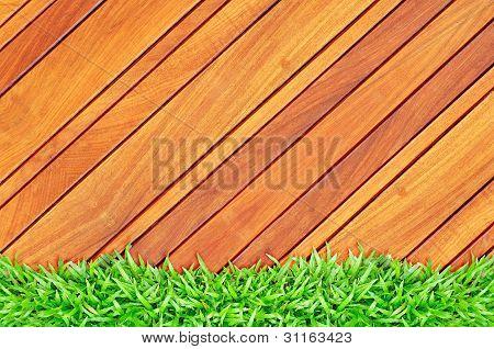 Grass Frame On Wood