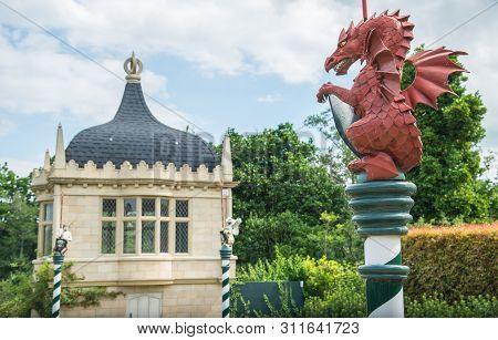 Hamilton, New Zealand - December 08 2017 : The Dragon Sculpture At Tudor Garden Mythical Beasts In H