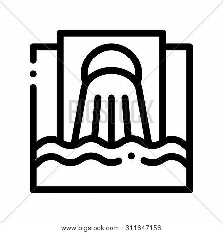 Waste Outpouring From Spout Vector Thin Line Icon. Industry Waste In Ocean Sea River Environmental P