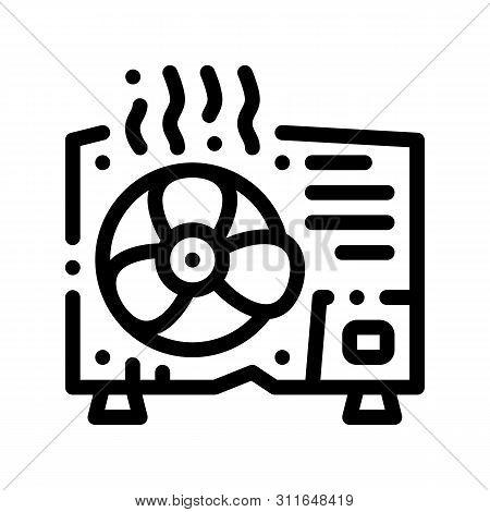 Broken Conditioner System Vector Thin Line Icon. Overheat Conditioner Technology Equipment, Superhea