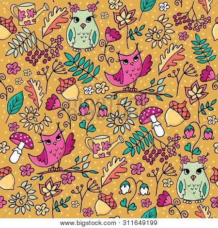 Cute Autumn Forest Seamless Pattern With Owls.