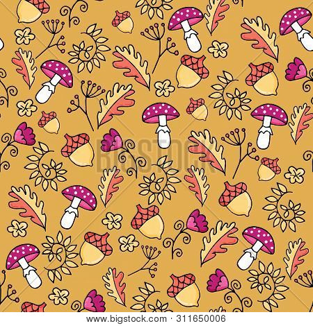 Cute Autumn Seamless Pattern With Fly-agaric Mushroom, Leaves And Acorn.