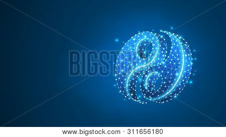 Yin-Yan sign. Life balance, business solution, buddhism symbol, harmony concept. Abstract, digital, wireframe, low poly mesh, vector blue neon 3d illustration. Triangle, line poster