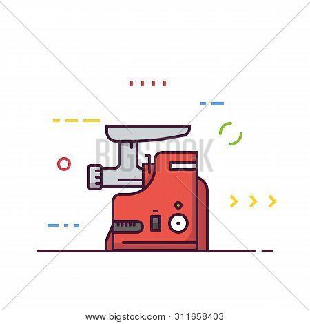 Meat Grinder Machine Vector. Kitchen Mixer Machine For Minced Meat. Red Modern Electric Kitchen Appl