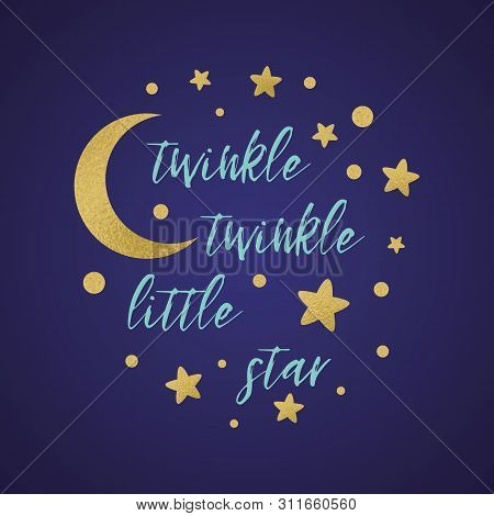 Twinkle Twinkle Little Star Text With Gold Star And Moon Baby Shower Card Template