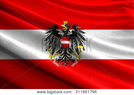 Realistic Flag Of Austria On The Wavy Surface Of Fabric