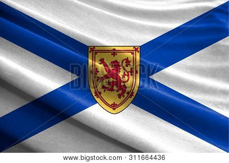 Realistic Flag Of Nova Scotia On The Wavy Surface Of Fabric