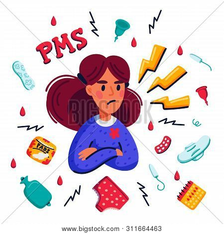 Pms Concept. Woman Suffering From Premenstrual Syndrome And Related Products Such As Sanitary Pads A