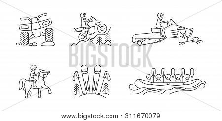 Active Lifestyle Linear Icon Set. Atv And Nountain Bike, Rafting And Horse Riding, Skiing And Snowmo