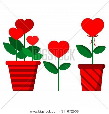 Set Of Flowers In A Heart-shaped: Three Flowers In Red Stripped Pot, Single Flower, Flower With Bow