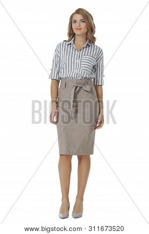 Young Caucasian Business Woman Executive Posing In Beige Midi Stylish Skirt And Blouse High Heels St