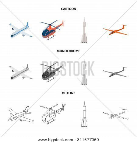 Isolated Object Of Transport And Object Sign. Set Of Transport And Gliding Stock Vector Illustration