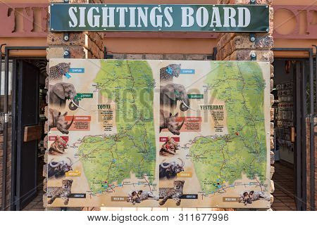 Kruger National Park, South Africa - May 3, 2019: View Of A Typical Sightings Board In The Kruger Na