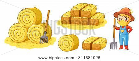 Vector Farm Set With Hay And Farmer On An Agricultural Theme In Cartoon Style.