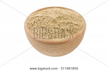 Cardamon Powder In Wooden Bowl Isolated On White Background. 45 Degree View. Spices And Food Ingredi