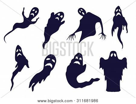 Different Ghosts And Spooks Bw Silhouettes Set