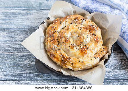 Vertuta, Traditional Romanian, Moldavian Or Balkan Baking Pie. Spiral Filo Pastry Pie