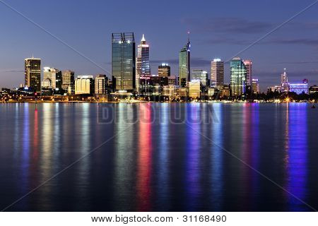 Perth, Western Australia, viewed at night reflected in the Swan River.