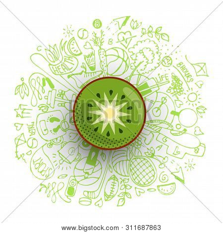 Healthy Lifestyle Concept With Sport And Healthy Diet Doodles And Icons - Sport, Food, Happy And Nor