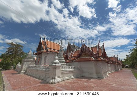 Beautiful Thai Style Chapel At Wat Yai-suwannaram. This Place Is An Important Old Temple In Phetchar