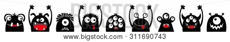 Happy Halloween. Monster Black Silhouette Head Face Icon Set Line. Eyes, Tongue, Tooth Fang, Hands U