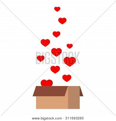 Ift Parcel Package Paper Gift Box Present With Fly Hearts Isolated On White Background.