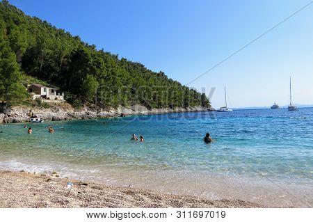 Pupnatska Luka, Korcula Island, Croatia - July 7th, 2019: The Beautiful Beaches Of Pupnatska Luka, O