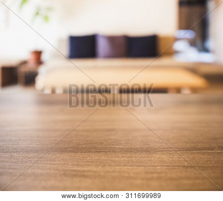 Table Top With Blur Sofa And Pillows Home Interior Decoration