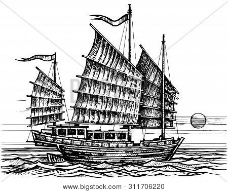 Vector Sketch Sailing Chinese Junk Ship In The Sea In Ink Line Style. Hand Drawn Sketched Sailing Ea