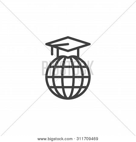 Graduation Cap On Globe Line Icon. Linear Style Sign For Mobile Concept And Web Design. Earth Globe