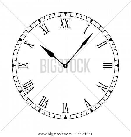 Black and white clock face with easy to read and edit hands