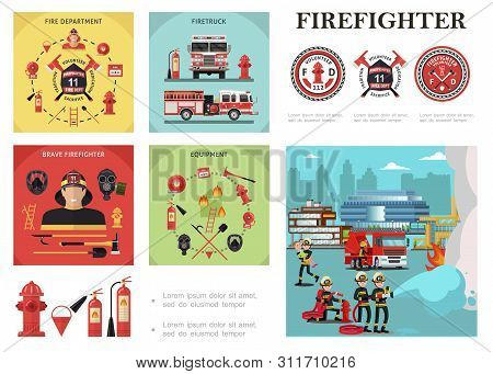 Flat Firefighting Colorful Composition With Rescue Brigade Extinguishing Fire Fireman Equipment And