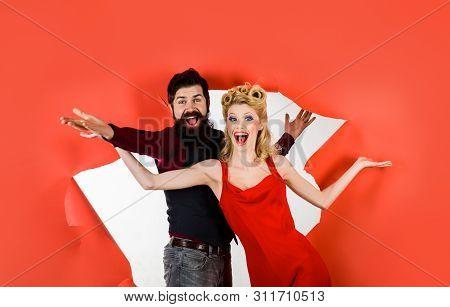 Happy Couple Enjoying Dance. Pretty Woman And Bearded Man Dancing. Stylish Couple Dancing. Romantic