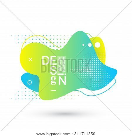 Modern Graphic Design Elements In Shape Of Fluid Blobs With Geometric Lines. Gradient Blue And Green