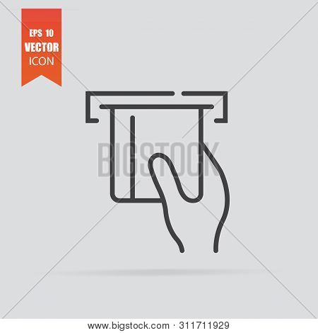 Insert Credit Card Icon In Flat Style Isolated On Grey Background.