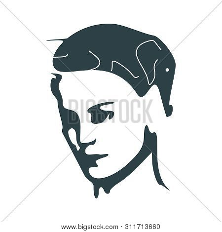 An Elephant Hairstyle. Optical Illusion. Haircut Make Silhouette Of Elephant