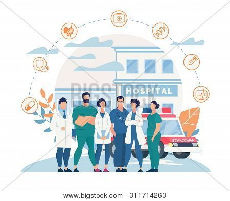 Informational Poster Hospital Staff Cartoon Flat. People In White Coats Working In Hospital. Men And